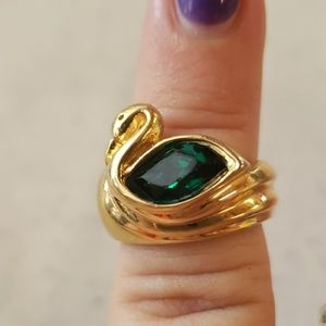 18 K gold swan ring w/emerald stone